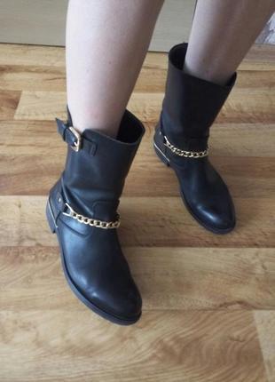 Кожаные полусапоги ботинки