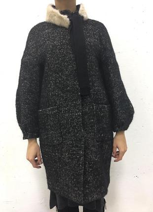 Пальто черное рябое меланж vdp