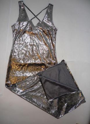 Шикарное серебристое платье в пол р.с-м