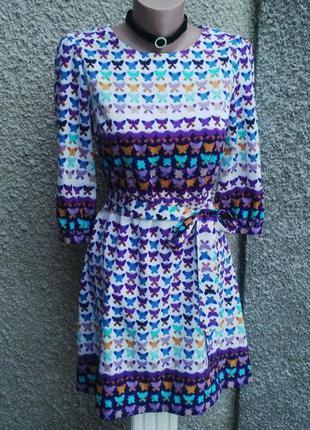 Красивое,яркое платье(туника)блуза удлиненная в бабочки и застежкой по спинке,прямого кроя под пояс