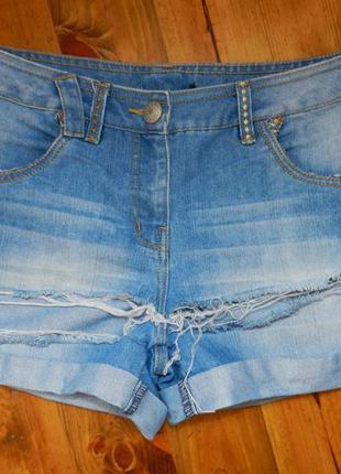 Стильные джинсовые шорты рванки george 12/40 размер