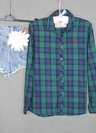 Рубашка в клетку next размер xs/s зеленая синяя