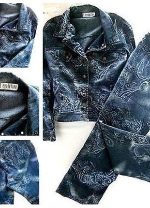 Джинсовый  брючный костюм размер 48-50 бренд
