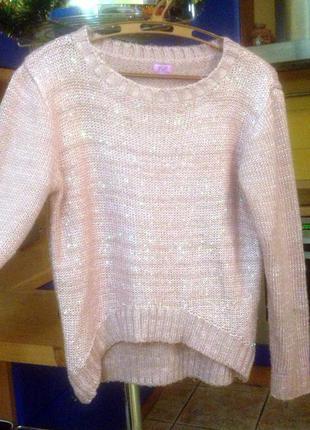 Фирменный розовый нежный свитер женский теплый жіночий светер теплий рожевий