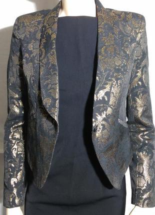 Шикарный красивый фирменный жакет пиджак золотистый яркий узором