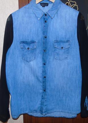 Модная джинсовая рубашка topshop