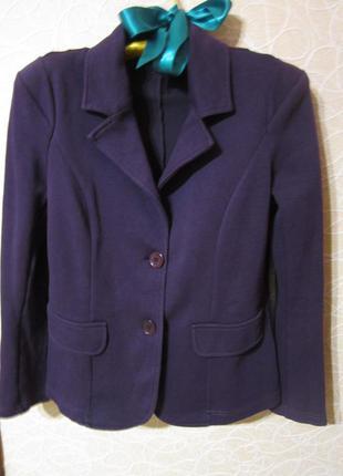 Черничный трикотажный пиджак. блейзер. трикотажный жакет.