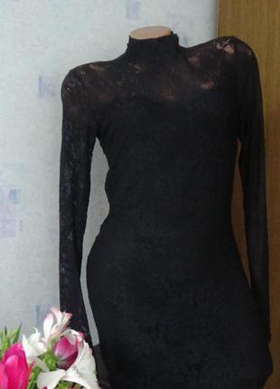 Новое гипюровое вечернее маленькое черное платье bershka