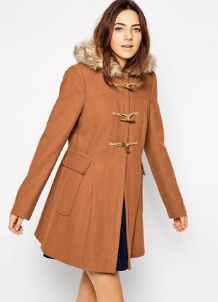 Asos теплое длинное пальто-дафл с мехом!4