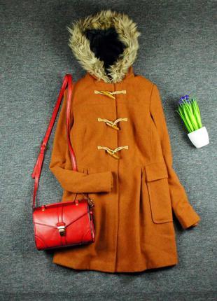 Asos теплое длинное пальто-дафл с мехом!1
