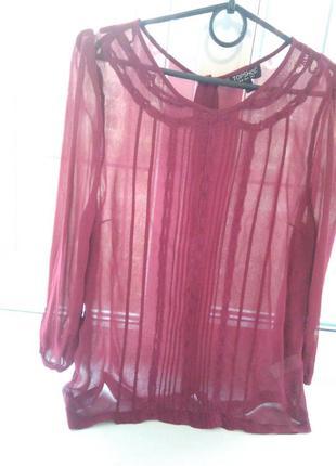 Бордовая блуза topshop