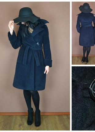 Стильное темно-синее пальто классического фасона с широким отложным воротником    ow4803    zara