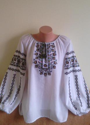Вышиванка женская машинная вышивка длинный рукав батал (домотканое полотно).