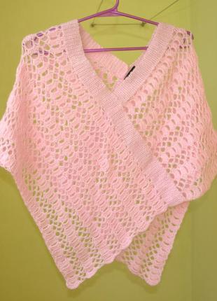 Распродажа! новая вязанная розовая накидка