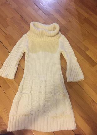 Тёпленькое вязаное платье туника