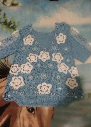 Кофточка(блуза) связанная крючком очень красивая
