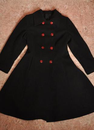 Чорне кашемірове зимове пальто кльош