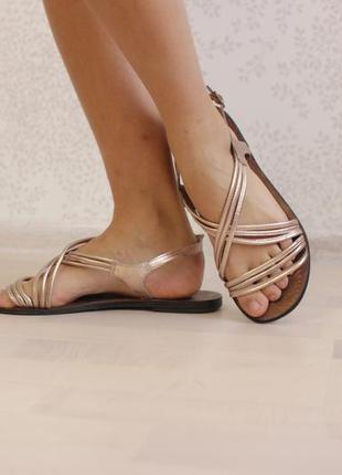 Босоножки сандалии, натуральная кожа, розовое золото, бренд next