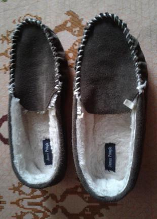 Комнатные туфли мокасины замшевые,40-41р-р.