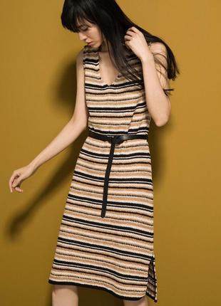 Полосатое вязаные теплое зимнее платье  massimo dutti