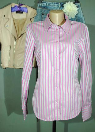 Стильная рубашка в серо-розовую полоску ben sherman размер m/l блузка