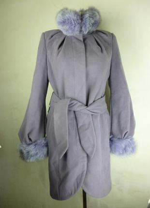 Удлиненное сиреневое зимнее теплое пальто с мехом размер m l h&m c&a mango zara bershka stradivarius