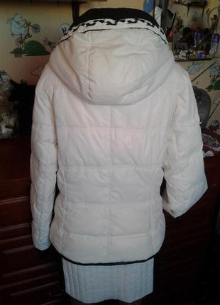 Peercat брендовый белый пуховик-пальто-трансформер со съемным низом высокой 48-50р