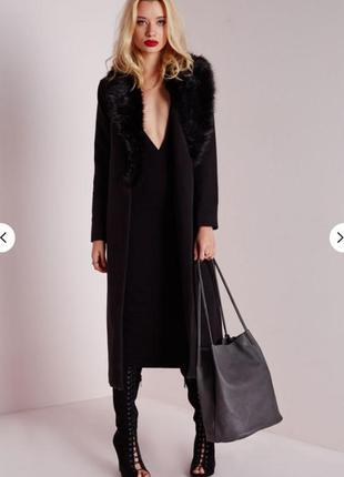 Пальто asos missguided чёрное с воротником из искусственного меха4