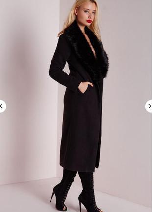 Пальто asos missguided чёрное с воротником из искусственного меха3