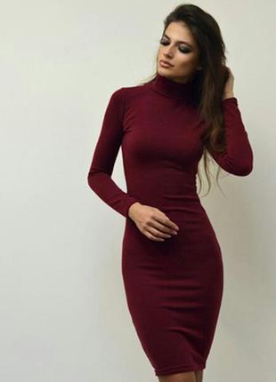 Платье миди гольф бордового цвета