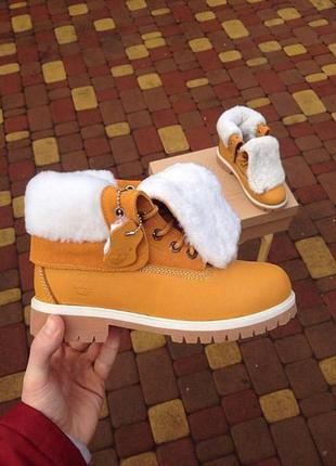Новые timberland зимние женские ботинки с мехом,нубук1