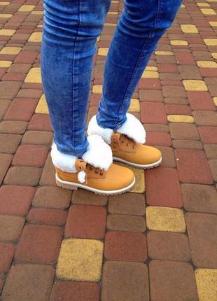 Новые timberland зимние женские ботинки с мехом,нубук2