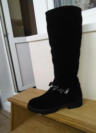 Сапоги зимние, натуральная замша, низкий каблук, новые, 38 размер