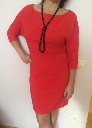 Новое красное (коралловое) платье с золотой змейкой на всю спину