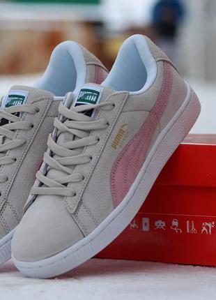 Стильные кроссовки puma suede серо-бежевые с розовым