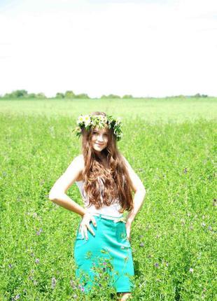 Яркая зелёная юбка oodji