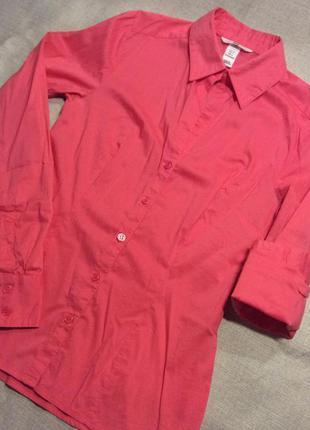 Розовая рубашка с длинным рукавом h&m, размер xs-s