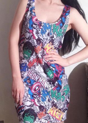 Короткое платье marvel, платье марвел, платье комикс,  мстители, халк, человек паук