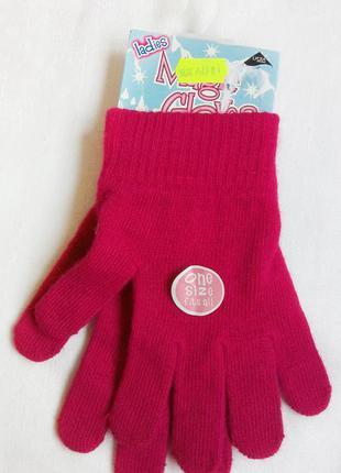Новые розовые однотонные перчатки универсального размера.