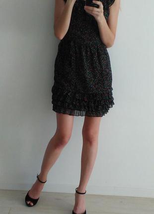 Шифоновое платье в цветочек на подкладе