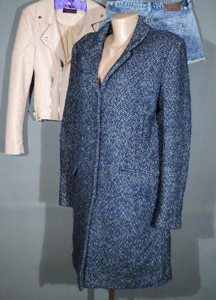 Стильное пальто-букле h&m размер eur42 m/l