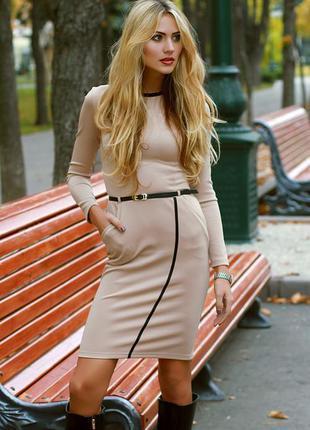 Платье миди бежевого цвета распродажа