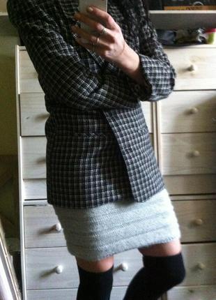 Стильный пиджак пальто шерсть в английском стиле твид клетка 10-12