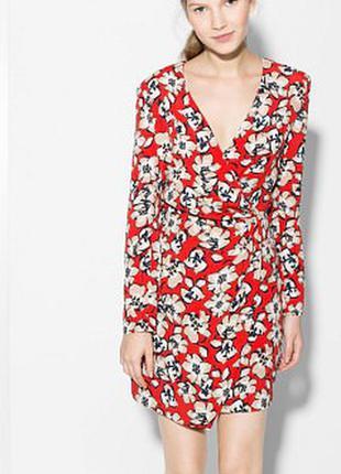 Платье краское в цветы mango размер s