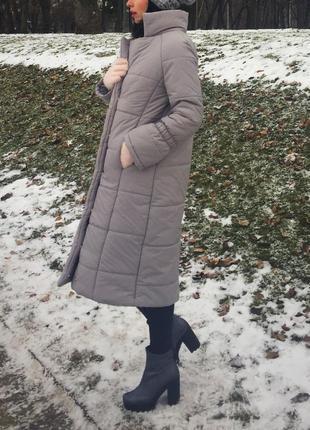 Пуховик зимний стильный серый оверсайз объемный в стиле zara