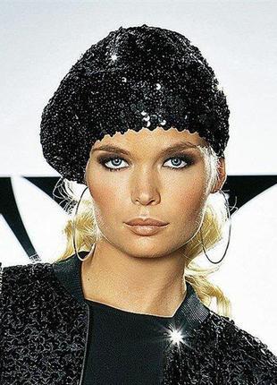 Новый в пайетках мега модный и стильный берет в стиле глэм, бренд glitter