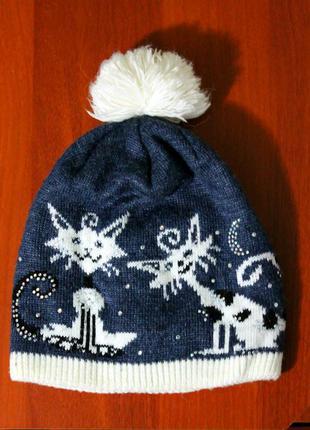 Новая теплая шапка с помпоном на флисовой подкладке