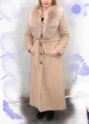 Зимнее длинное пальто с песцом