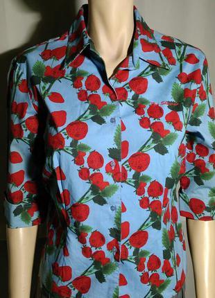 Оригинальная прикольная рубашка голубая с клубникой ben sherman