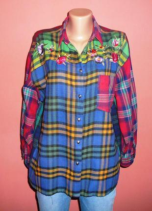 Рубашка  в клетку с вышивкой made in india  38 -40 размер